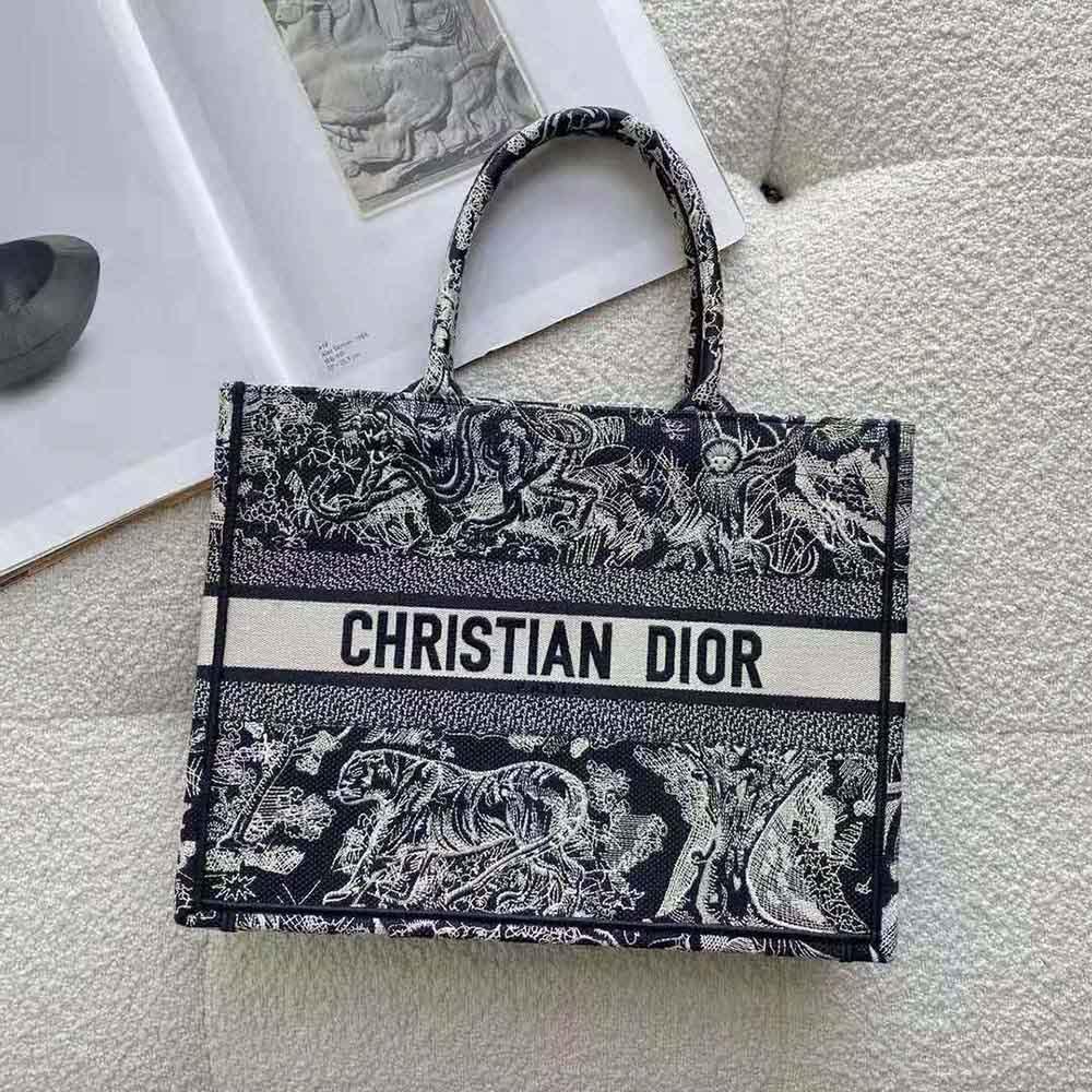 Dior Women Small Dior Book Tote Blue Toile de Jouy Reverse Embroidery